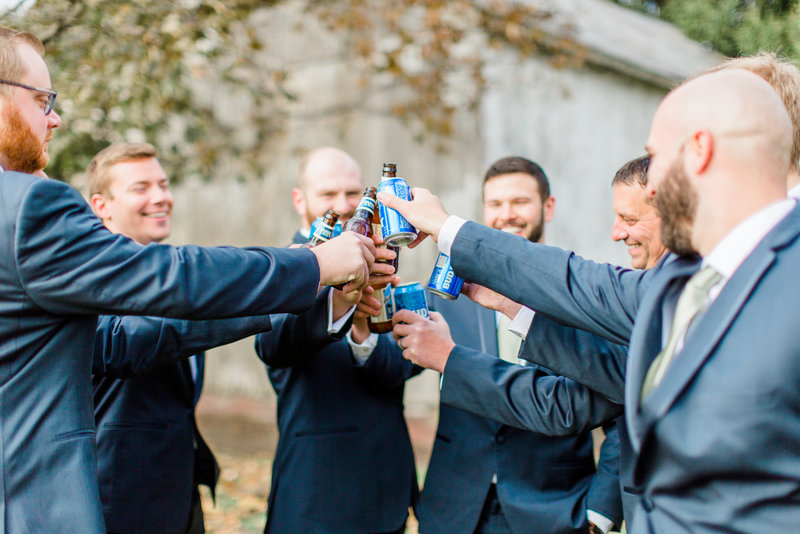 Groomsmen Drinking Beer Wedding Day Michigan