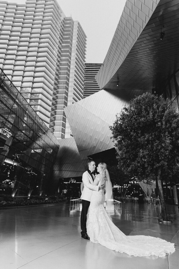 Wedding Portrait of Bride and Groom at Aria Casino