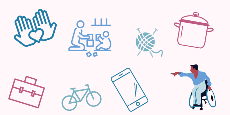 icons: blue hands with heart, adult and child playing, knitting needles with ball of wool, cooking pot, black wheelchair user dancing, smart phone, bicycle, and briefcase.