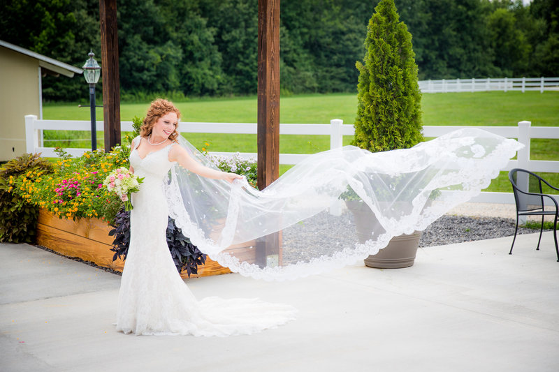 Bride's veil blowing in the wind