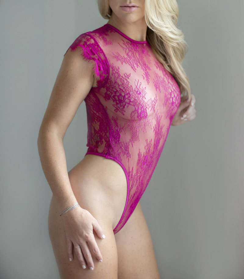 raleigh boudoir portrait with hot pink bodysuit