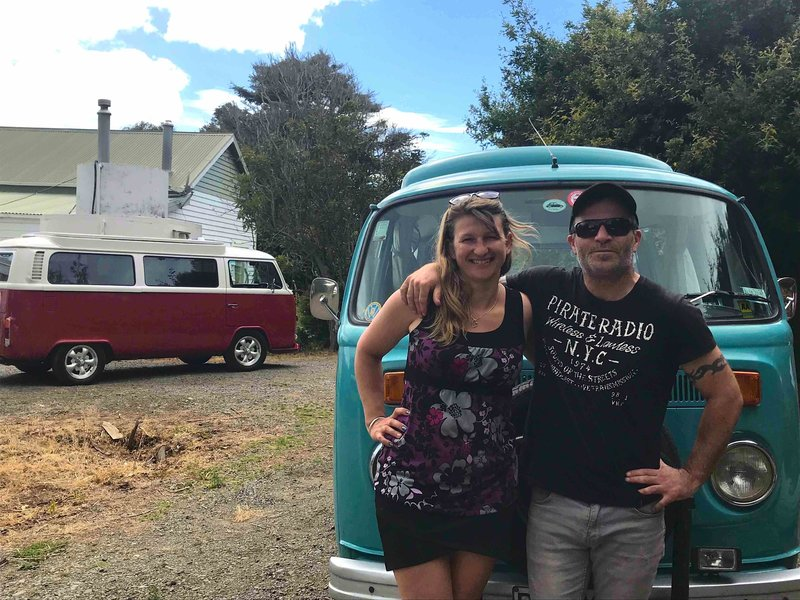 Yvette in front of kombi van Rhonda in Riverton, New Zealand