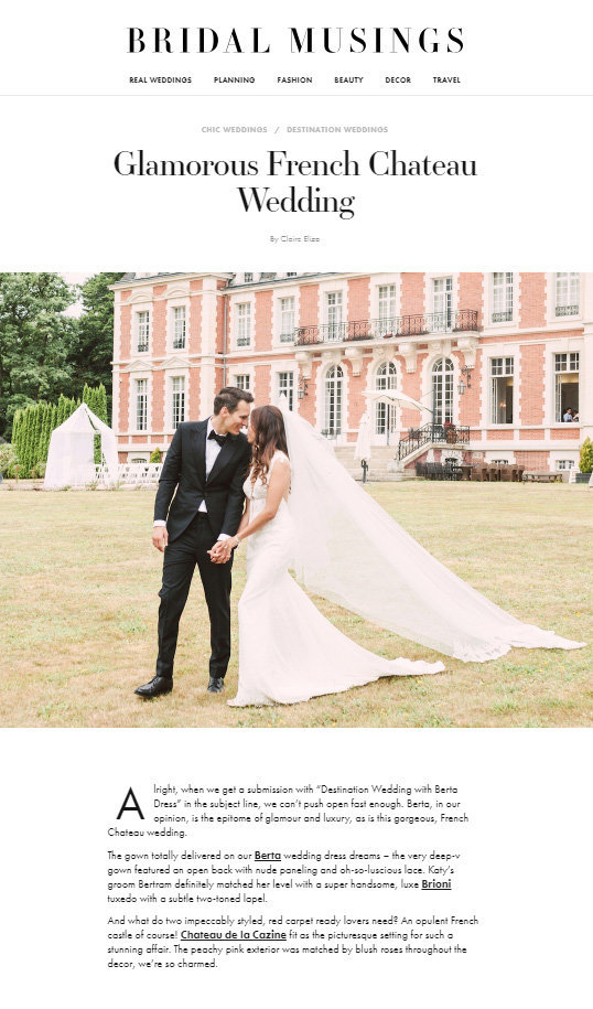8ae3a91b96a Glamorous French Chateau Wedding Feature On Bridal Musings Part 1