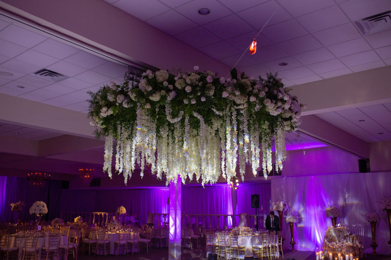 White and greenery large floral chandelier