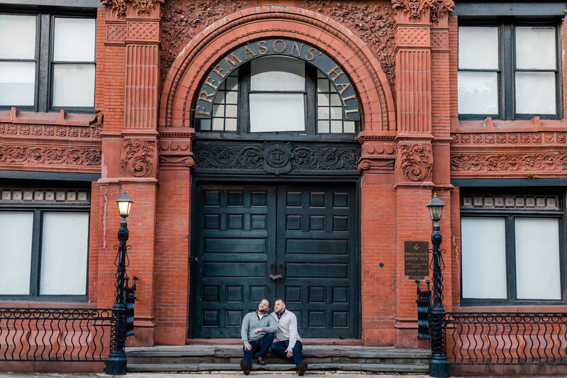 Brandon and Joe's River Street Savannah Engagement Session by Apt. B Photography