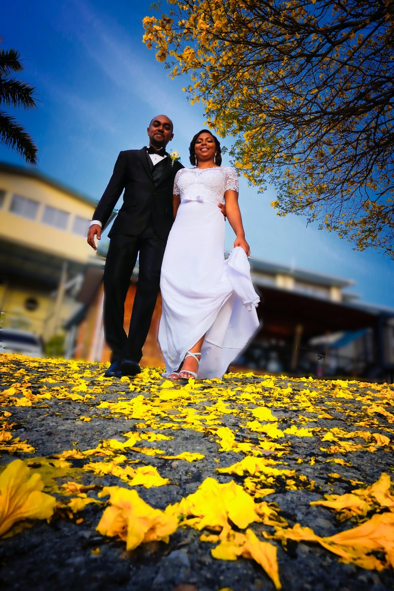Bride and Groom walk through poui towards camera.. Photo by Ross Photography, Trinidad, W.I..