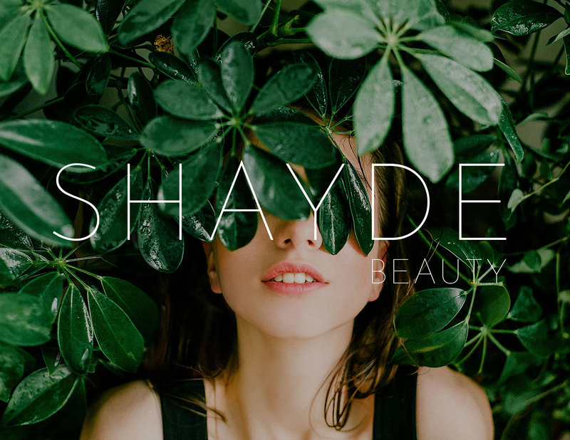 Visual mockup Branding & Logo Design for Shayde beauty | 100% cruelty-free & vegan skincare brand | girl standing between tree