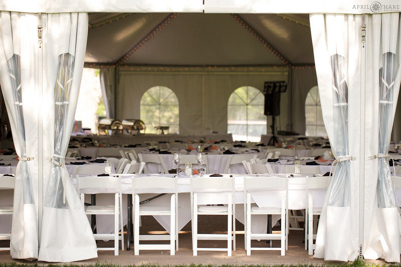 White Wedding Tent Reception at The Barn at Raccoon Creek