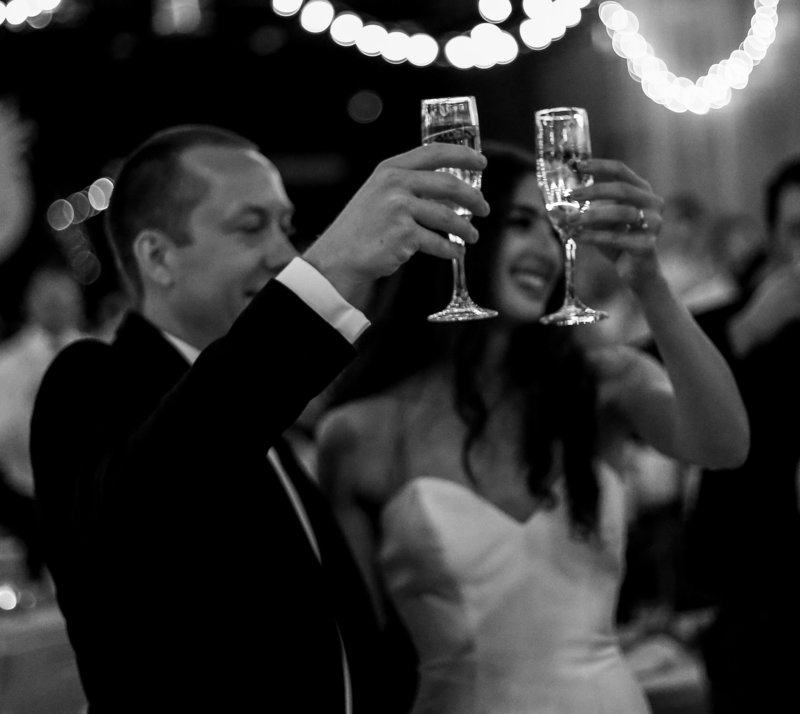 Couple toasts their guests during Spirit Pittsburgh wedding reception