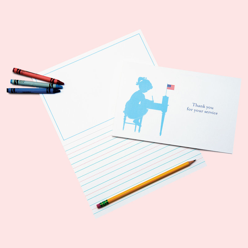 Coral and Blue Stationery for Kids Girls Thank you for Your Service Card