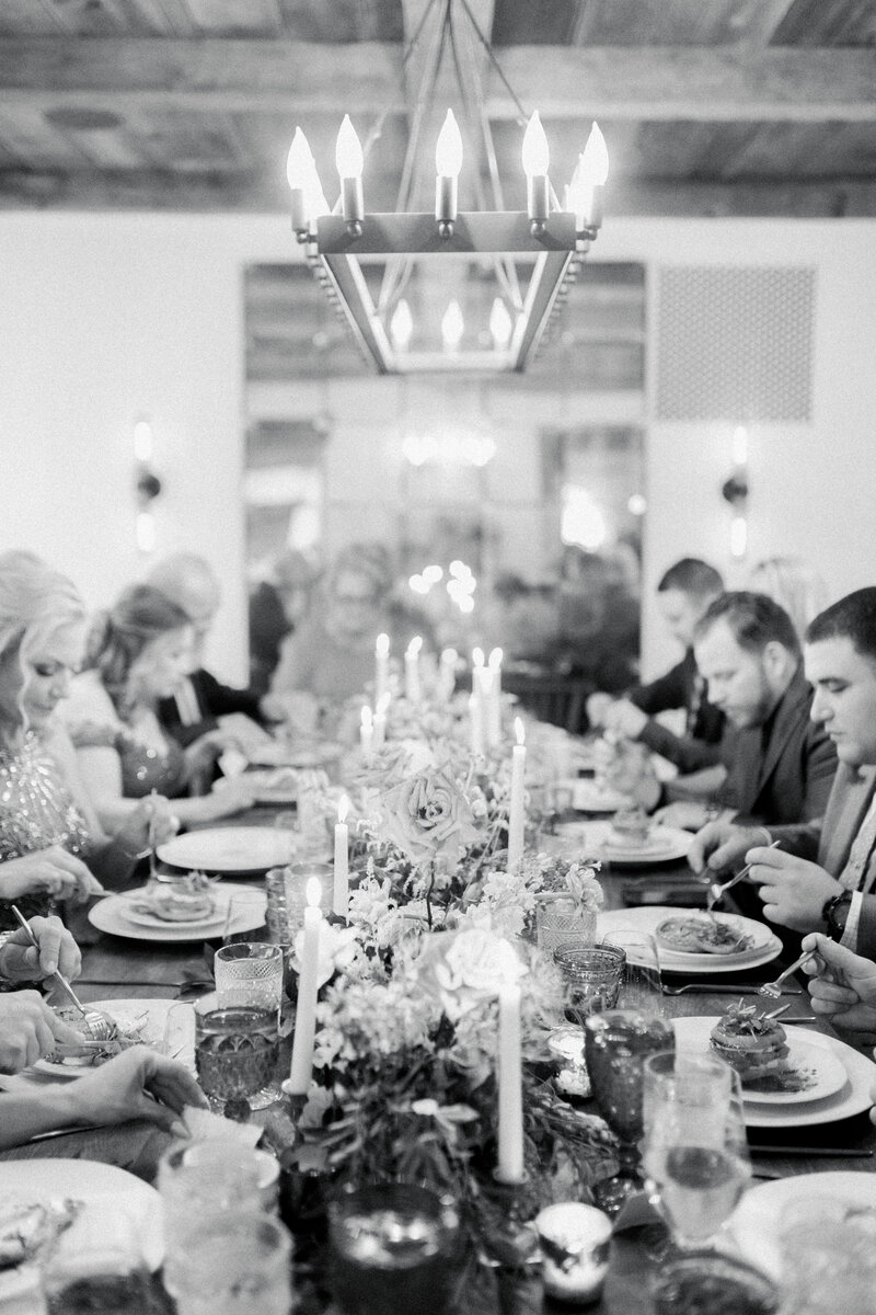 candle lit dinner at French Inspired Private Estate wedding in charlottesville virginia by costola photography