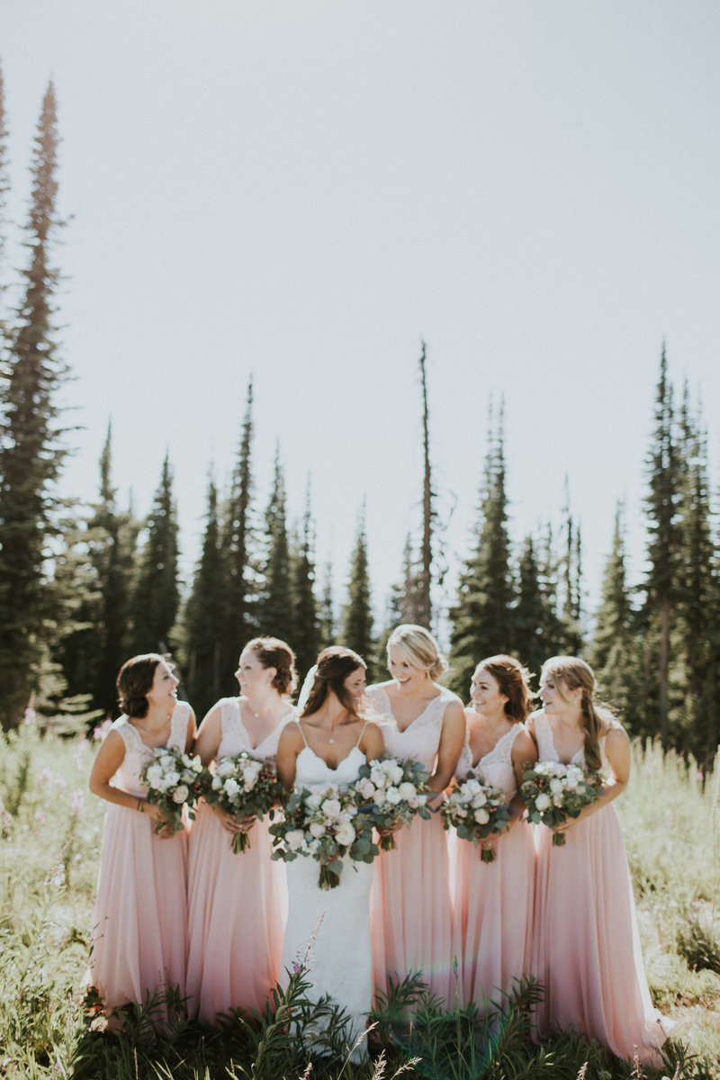 Whitefish MT Mountain Wedding Bridesmaids Laughing