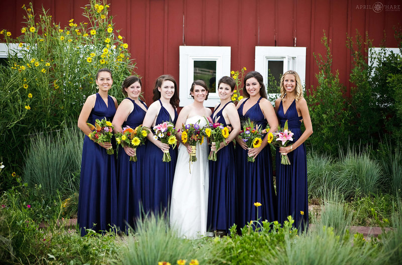Bride with Bridesmaids Wedding photo with red barn at Chatfield Farms