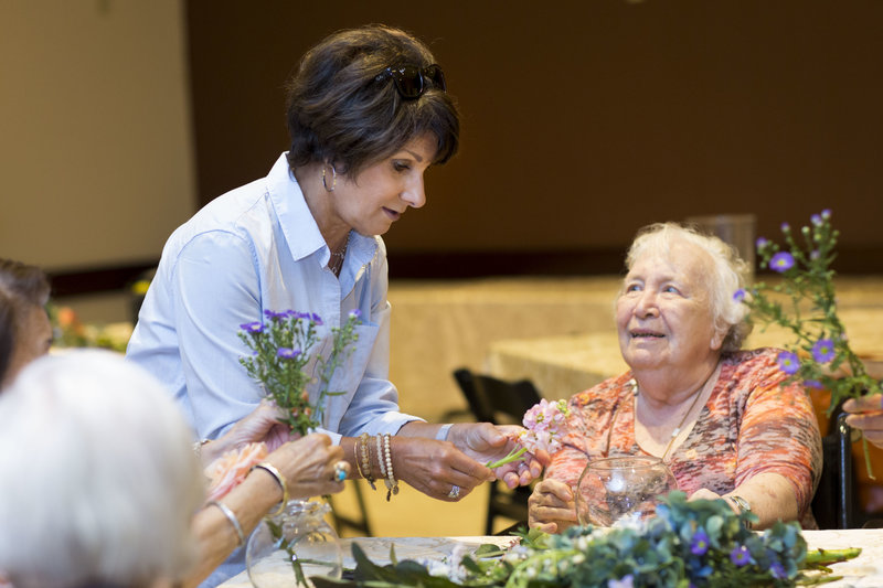 Flower arranging class in nursing home