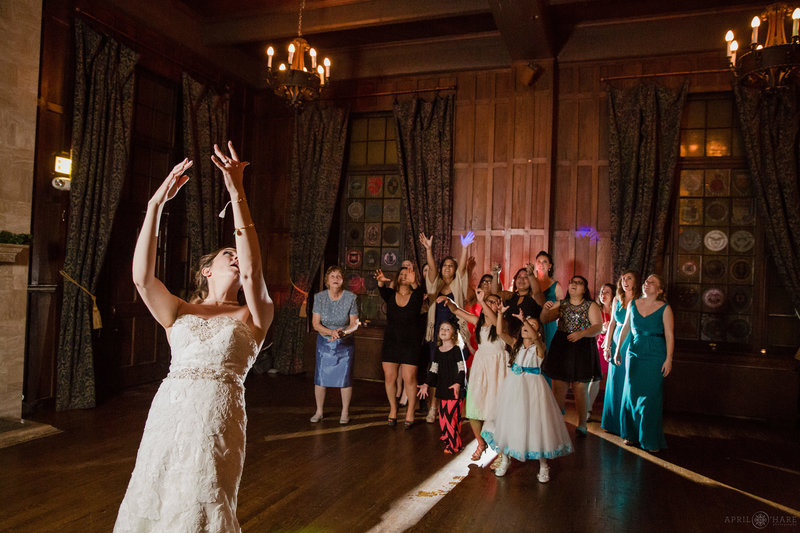 Bouquet-Toss-Wedding-Reception-Photography-at-University-Club-in-Denver