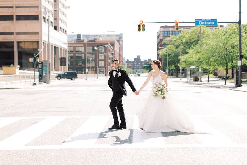 Cleveland couple walks across street at their Old Courthouse Wedding