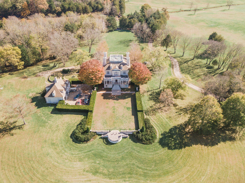 aerial view of great marsh estate wedding venue by costola photography