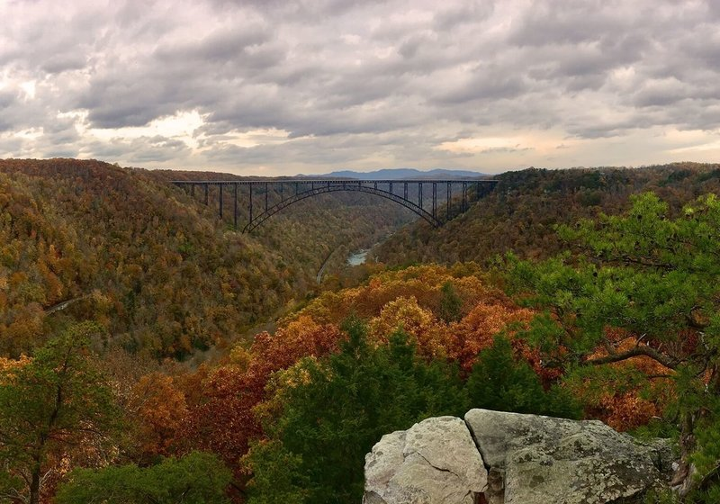 The view of the New River Gorge Bridge from the end of the Long Point trail is spectacular!