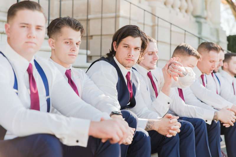 groomsmen on stairs at great marsh estate wedding in northern virginia by costola photography