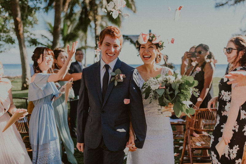 Olowalu-Plantation-House-Wedding-Maui-Hawaii-Recessional-Flower-Shower-Chelsea-Abril-Photography