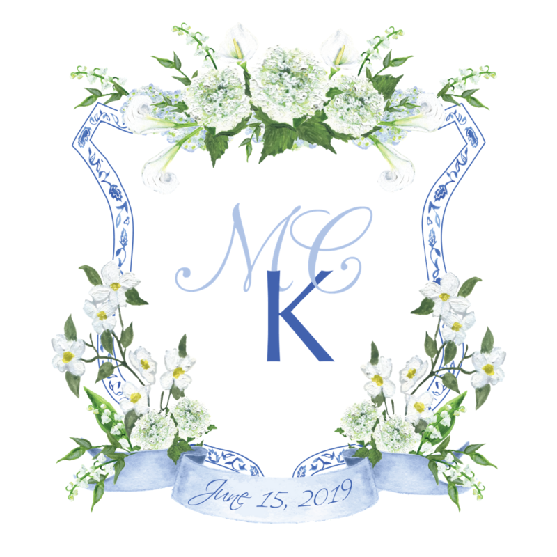 Custom southern watercolor wedding crest with delft pattern and white hydrangea