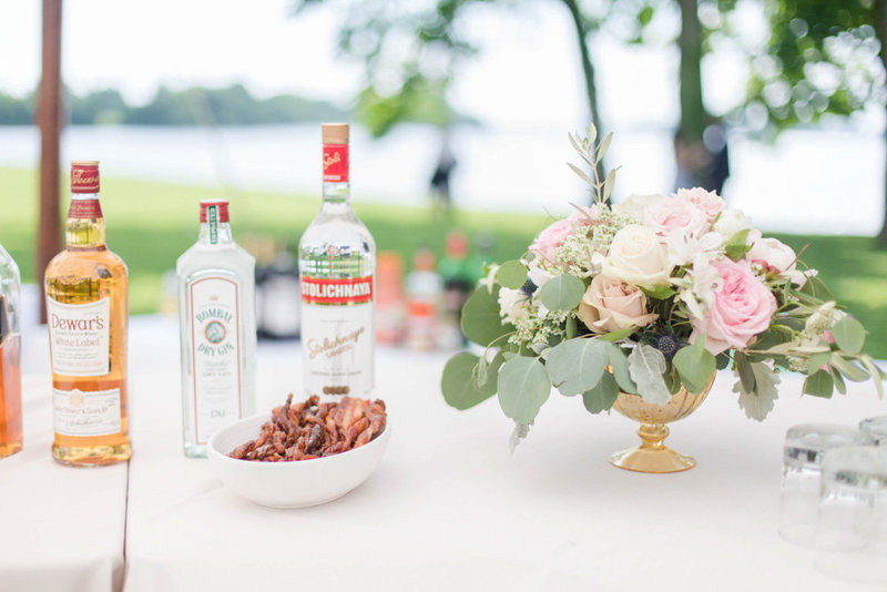 classic white and floral table settings at eastern shore wedding at kirkland manor by costola photography