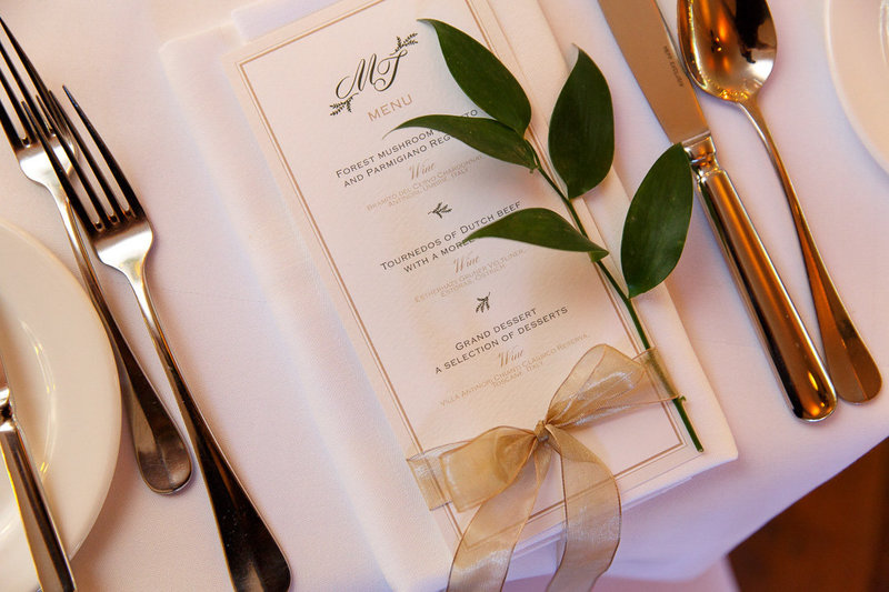 Menucard wedding, wedding dinner, weddingplanner