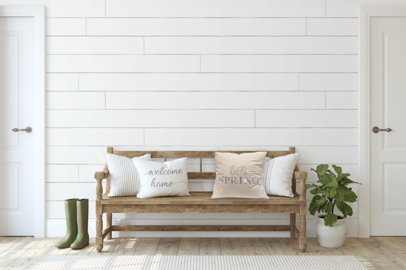 hello spring on bench mockup