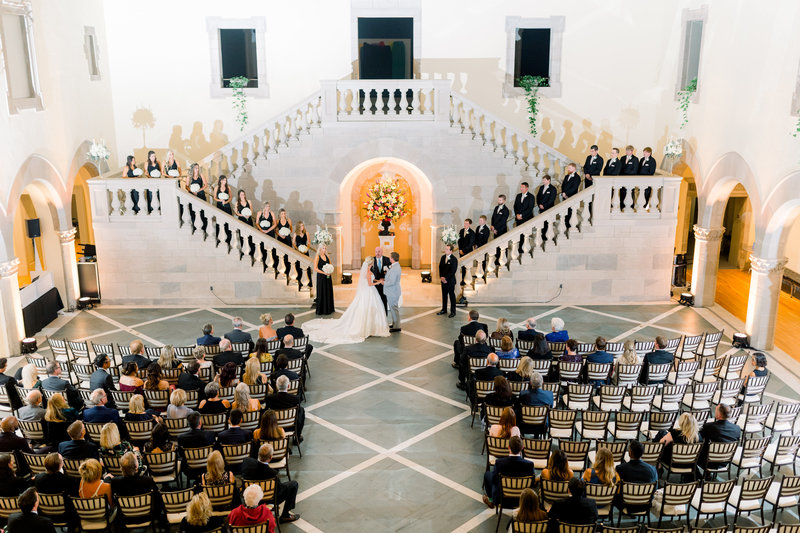 Virginia Wedding Photographer, wide angle shot of church during ceremony, from the 2nd floor
