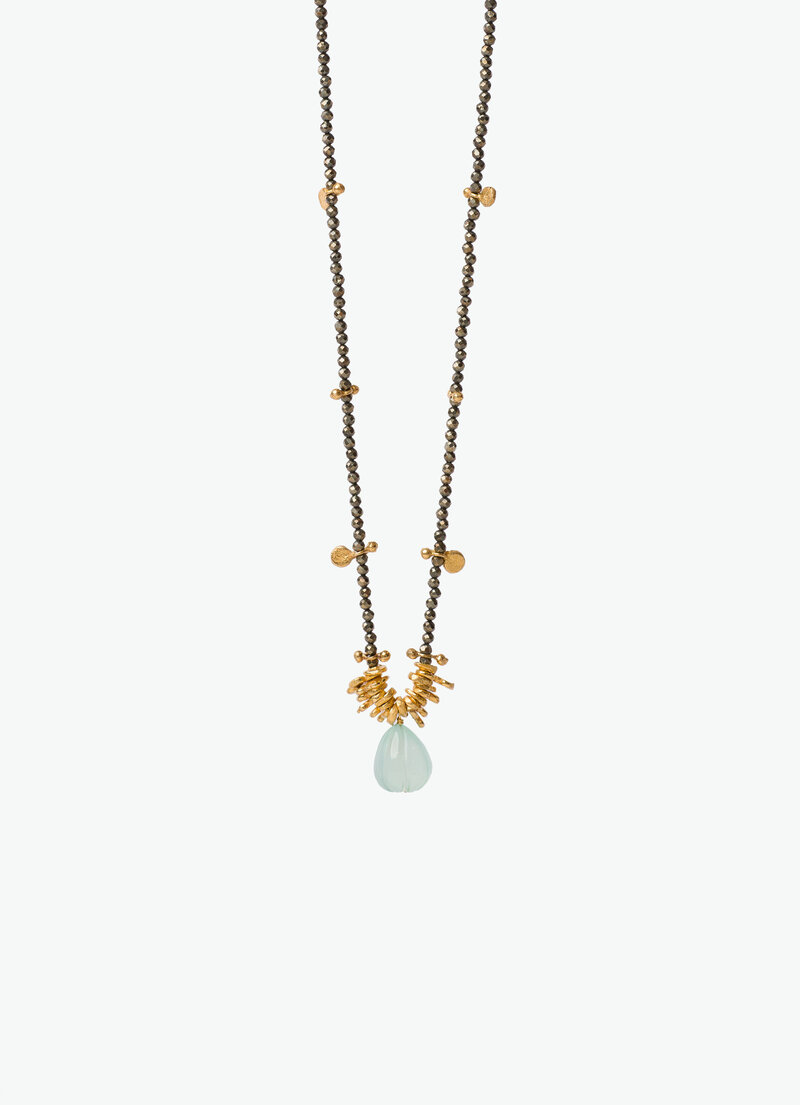 COVET HANDMADE_ROSE NECKLACE_CHALCEDONY PYRITE GOLD PLATE