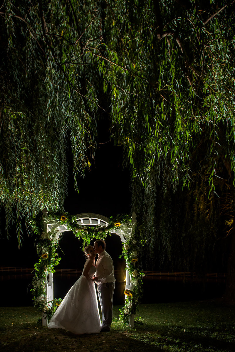 Backlit photograph of wedding couple in Baltimore