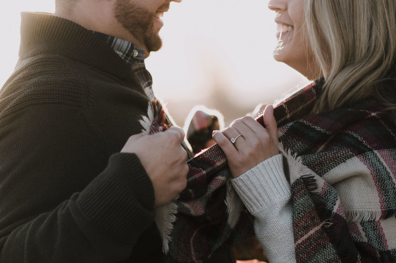 Cozy blanket sunset engagement session in Mystic Connecticut