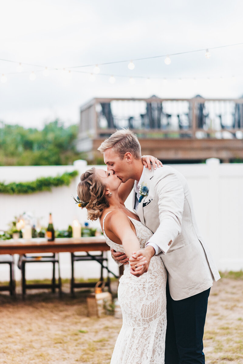 Bride and groom's first dance outdoor wedding
