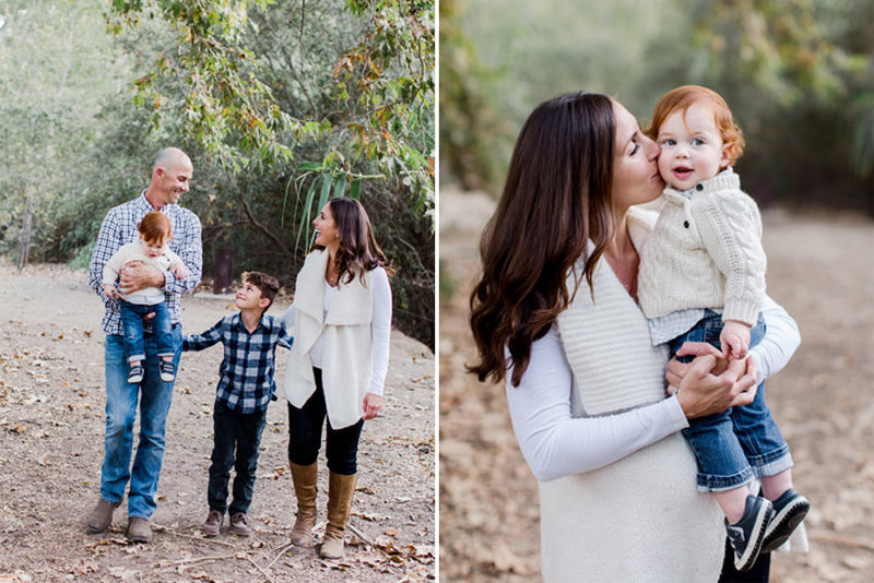 Family playing together in fall leaves in Ojai