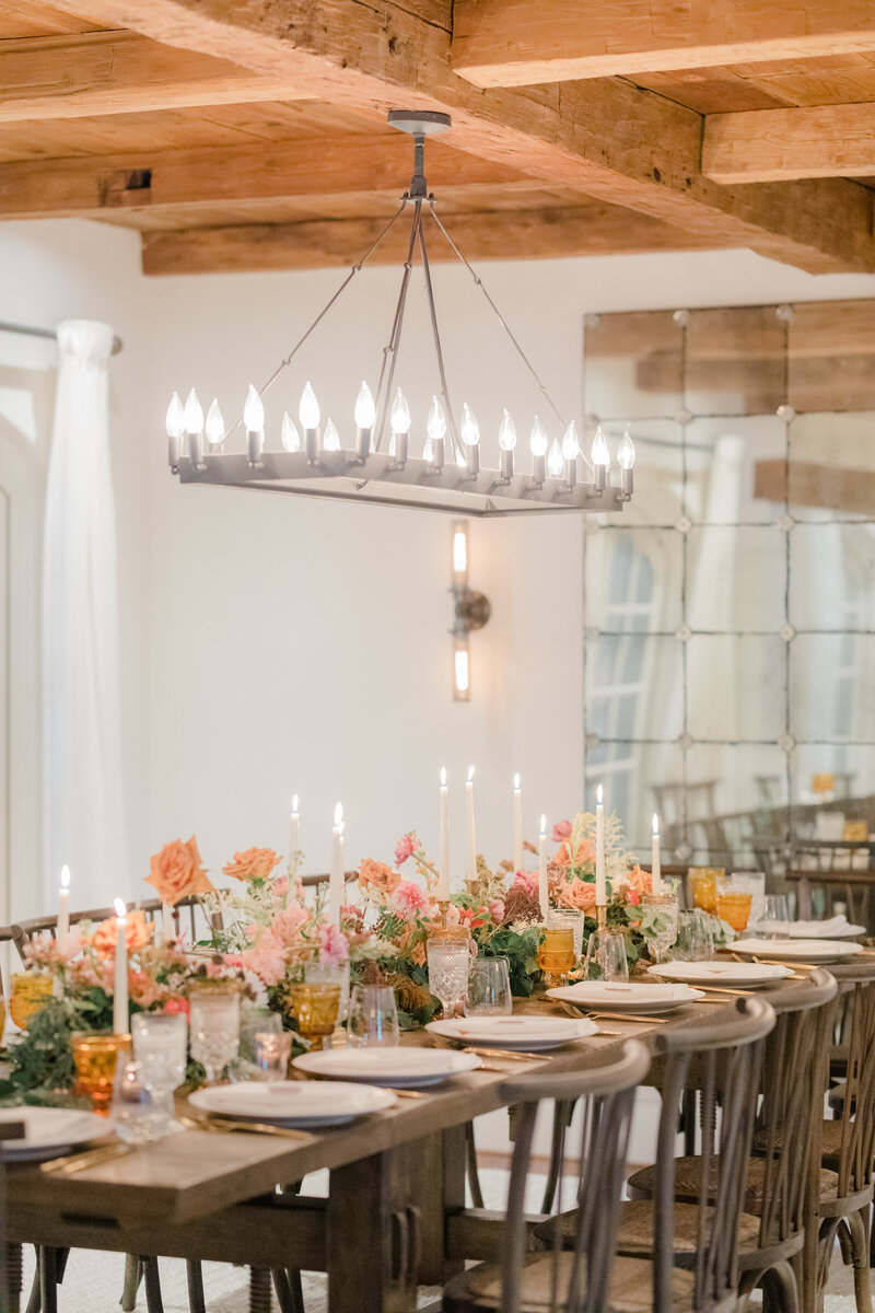 candle lit reception space at French Inspired Private Estate wedding in charlottesville virginia by costola photography