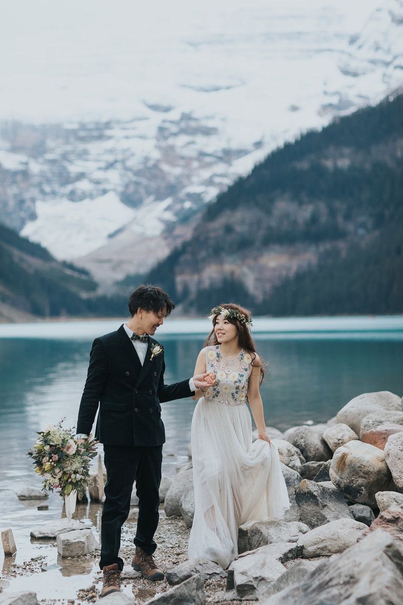 bohemian lake louise pre-wedding elopement photos