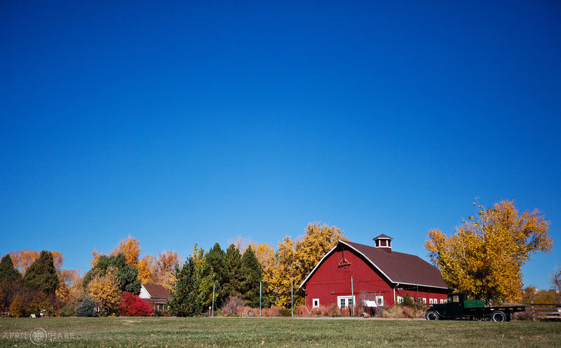 The Green Farm Barn in Red at Chatfield Farms Denver Botanic Gardens in Colorado