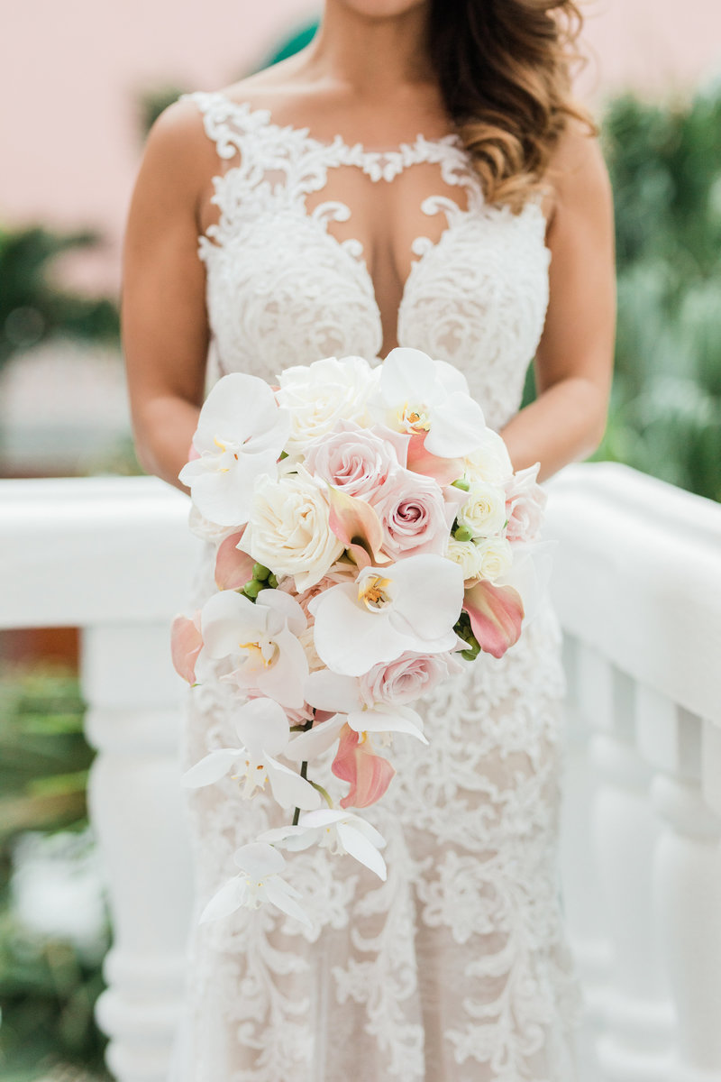 large orchid tropical bouquet at Don Cesar Wedding Photographer in St. Petersburgh Florida by Costola Photography