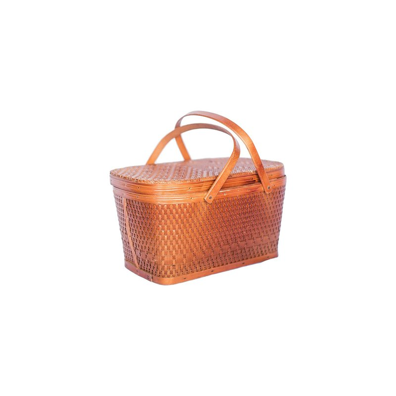 Medium vintage orange picnic basket