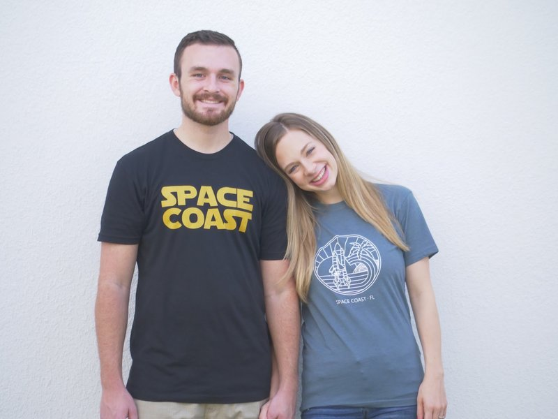 space coast foodies wearing local merch