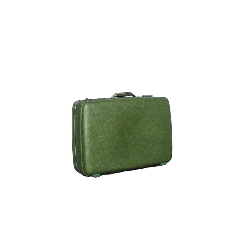 Retro green suitcase with floral silk lining.
