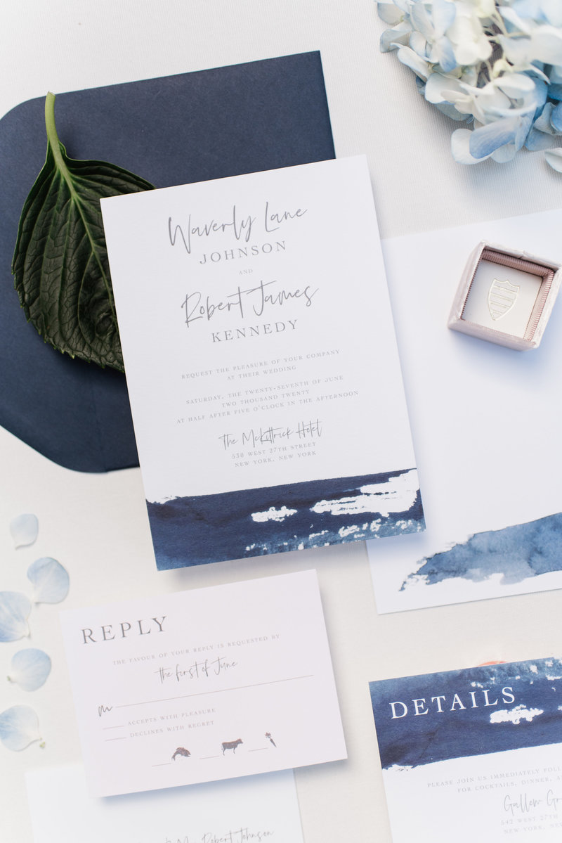 Fall 2018 Wedding Invitation Collection | Waverly Suite available in digital, letterpress and foil printing. Shown here with navy watercolor and matching navy envelopes. Click for more details!