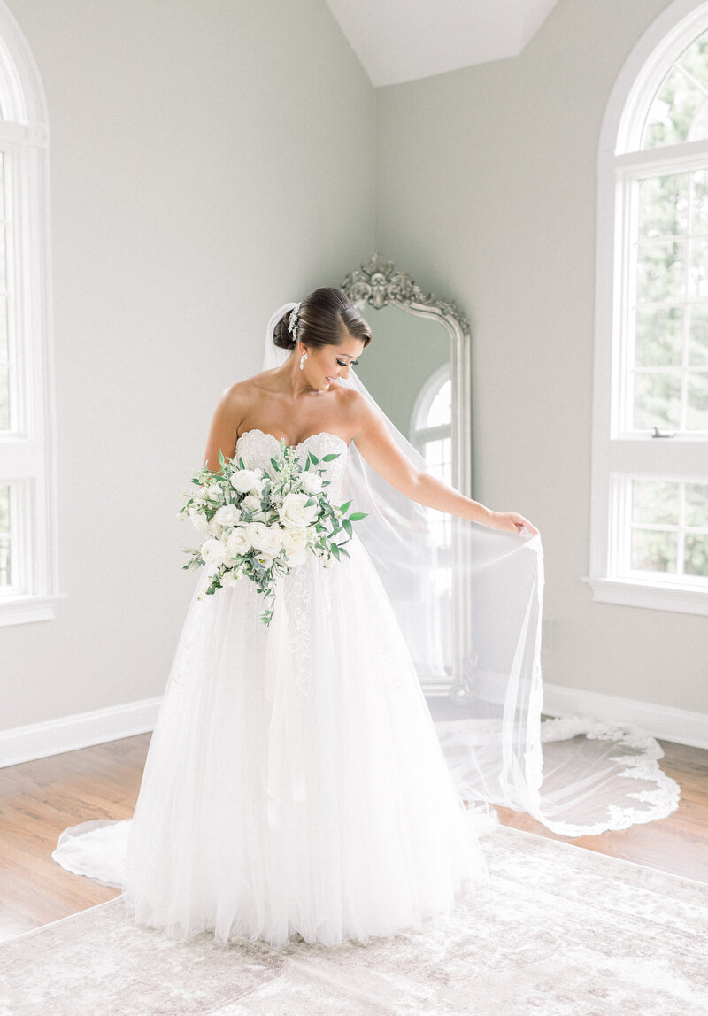 Bride at The Ryland Inn in New Jersey photographed by Caroline Morris Photography
