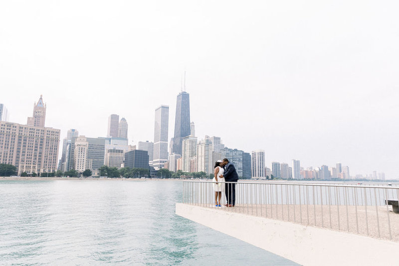 Bride and groom Chicago Skyline and Lake Michigan
