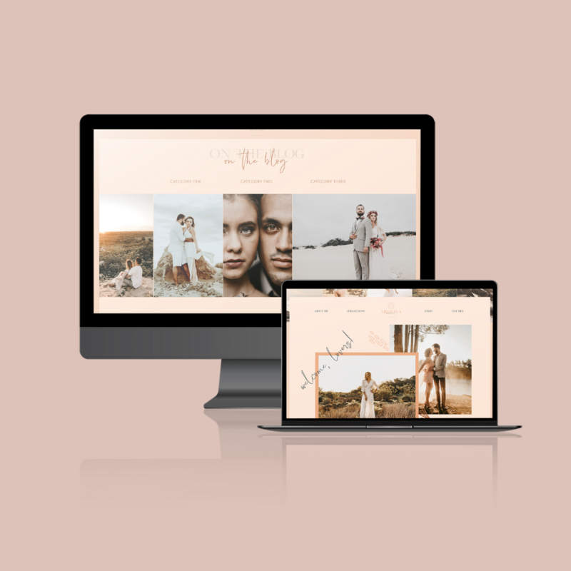 Desktop and laptop mockup showcasing a Showit web design for wedding photographers