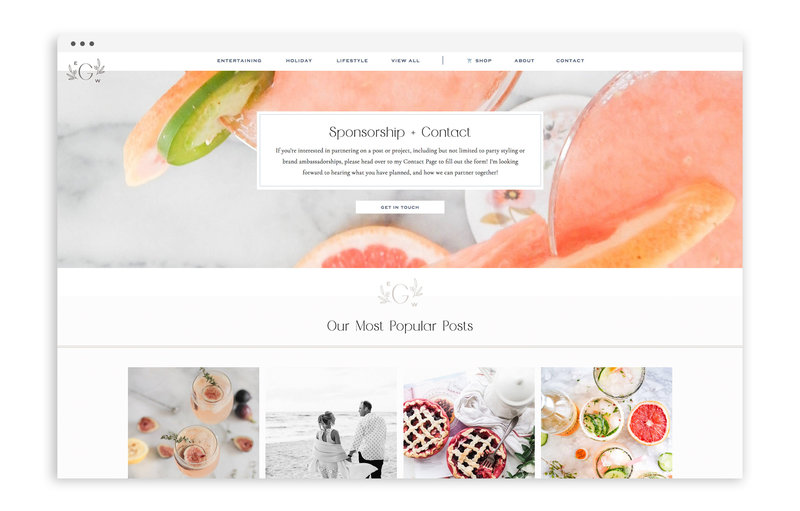 Entertain with Grace - Custom Brand and Showit Web Design by With Grace and Gold - Branding and Web Design for Bloggers - 3