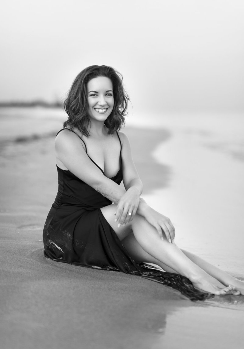 women portrait on the beach black and white