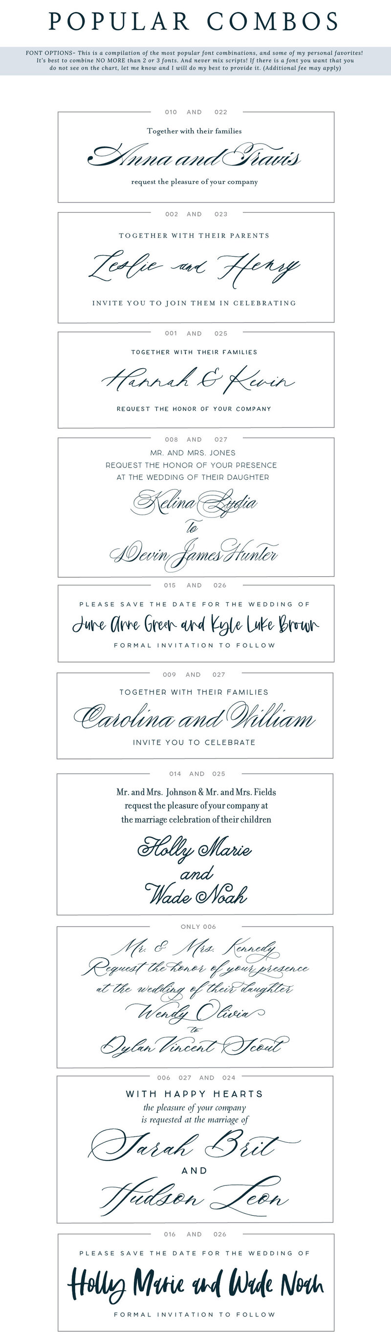 Feathered Heart Prints Popular Font Combinations