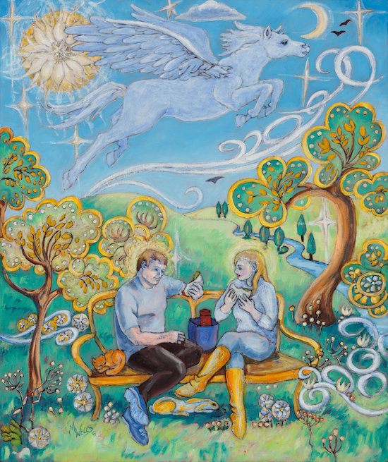Oil painting of young man and woman sharing a sandwich on a park bench with Pegasus, or God as Love, and a blooming sun above, Naïve style.