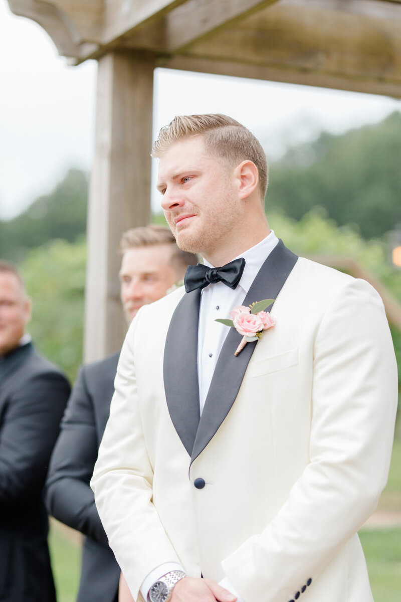 groom crying at bride walking down the aisle at Running Hare Vineyard Wedding photographer costola photography